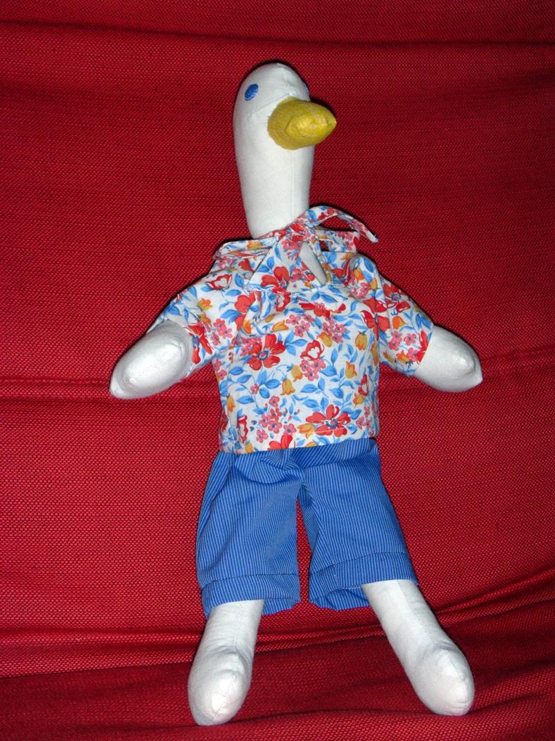 doudoudodiloou - Gontran bonheur : canard cousu en tissus