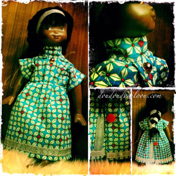 doudoudodilOOu - la robe de la poupée africaine de petite fille de ma mère - détails